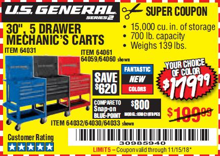 Us General Tool Cart Orange