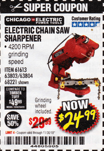 Chicago Electric Power Tools Electric Chainsaw Sharpener