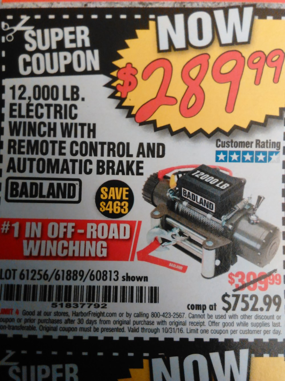 medium resolution of harbor freight badland offroad winch on sale for 299