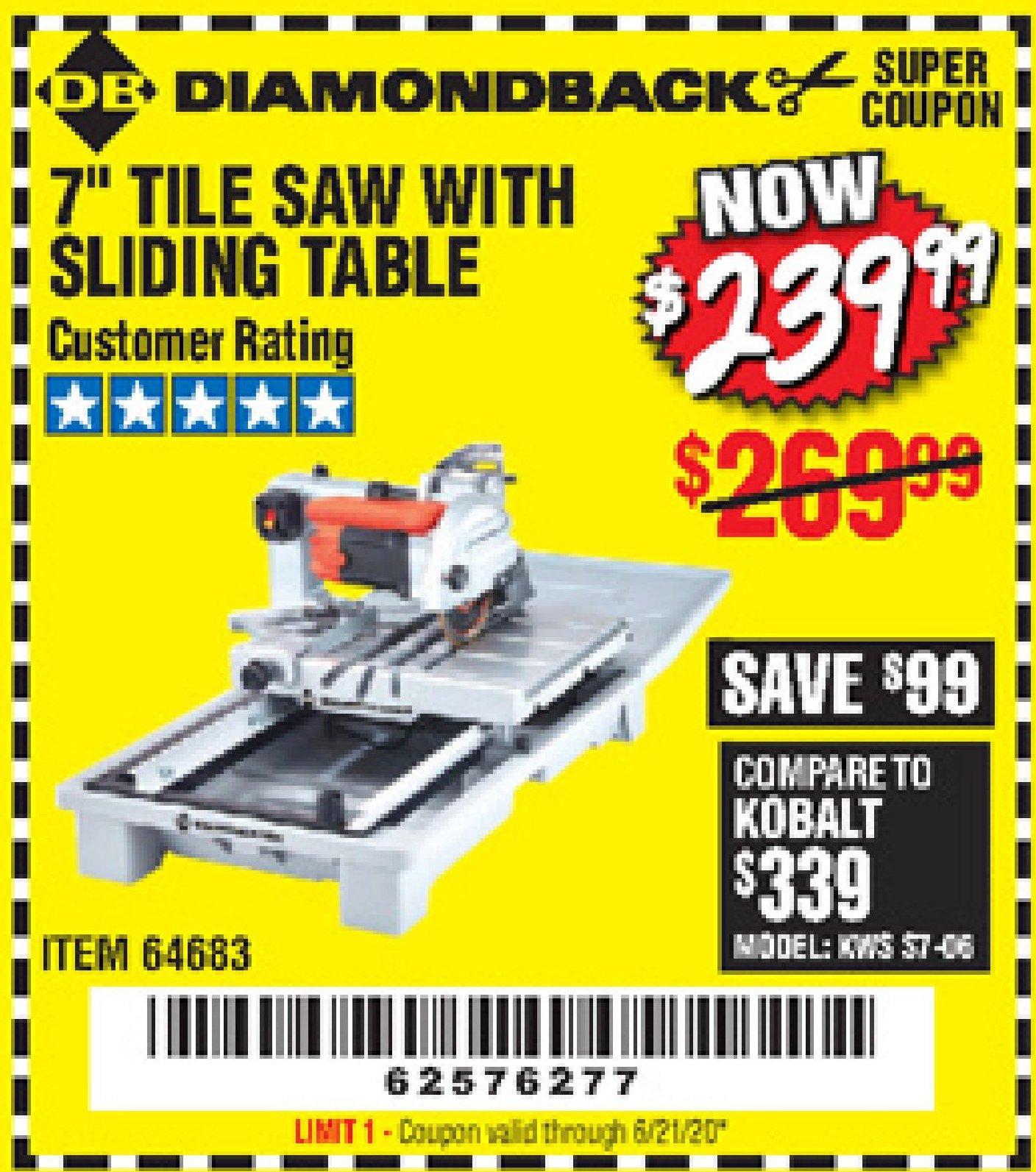 diamondback 7 tile saw with sliding table