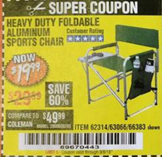 folding sports chair wicker saucer harbor freight tools coupon database free coupons 25 percent off foldable aluminum lot no 66383 62314 63066 expired 9 5 18 19 99