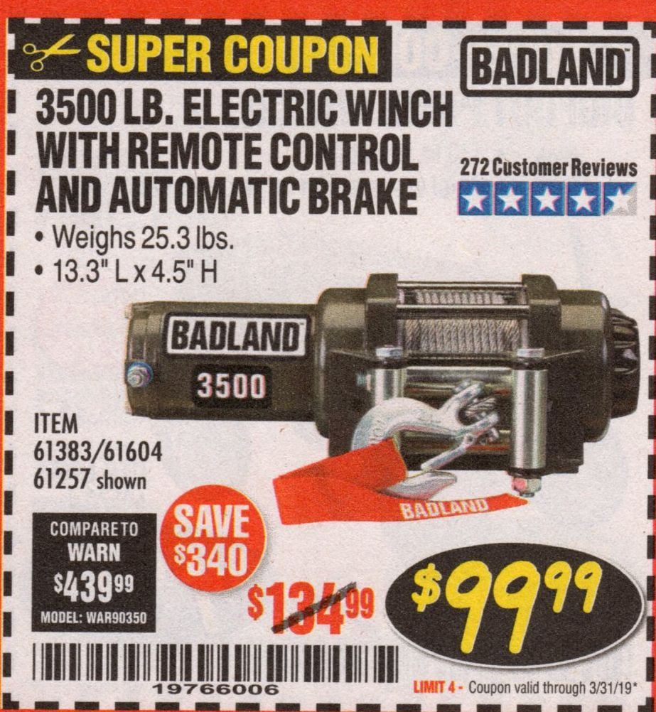 medium resolution of electric winch with remote control and automatic brake lot no 68145 61383 61604 61257 expired 3 31 19 99 99