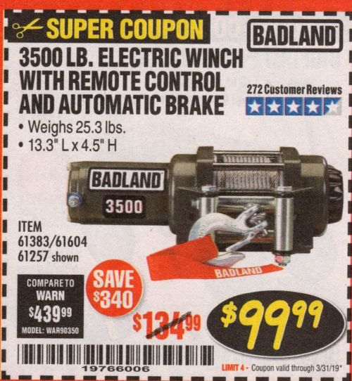 small resolution of electric winch with remote control and automatic brake lot no 68145 61383 61604 61257 expired 3 31 19 99 99