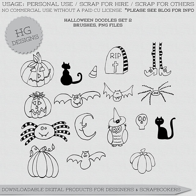 freebie: halloween doodles set 2 – HG Designs