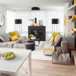 Grey Yellow Living Room Design Pictures Of Decorated For Christmas 15 Fascinating And Designs View In Gallery With Black Cabinets