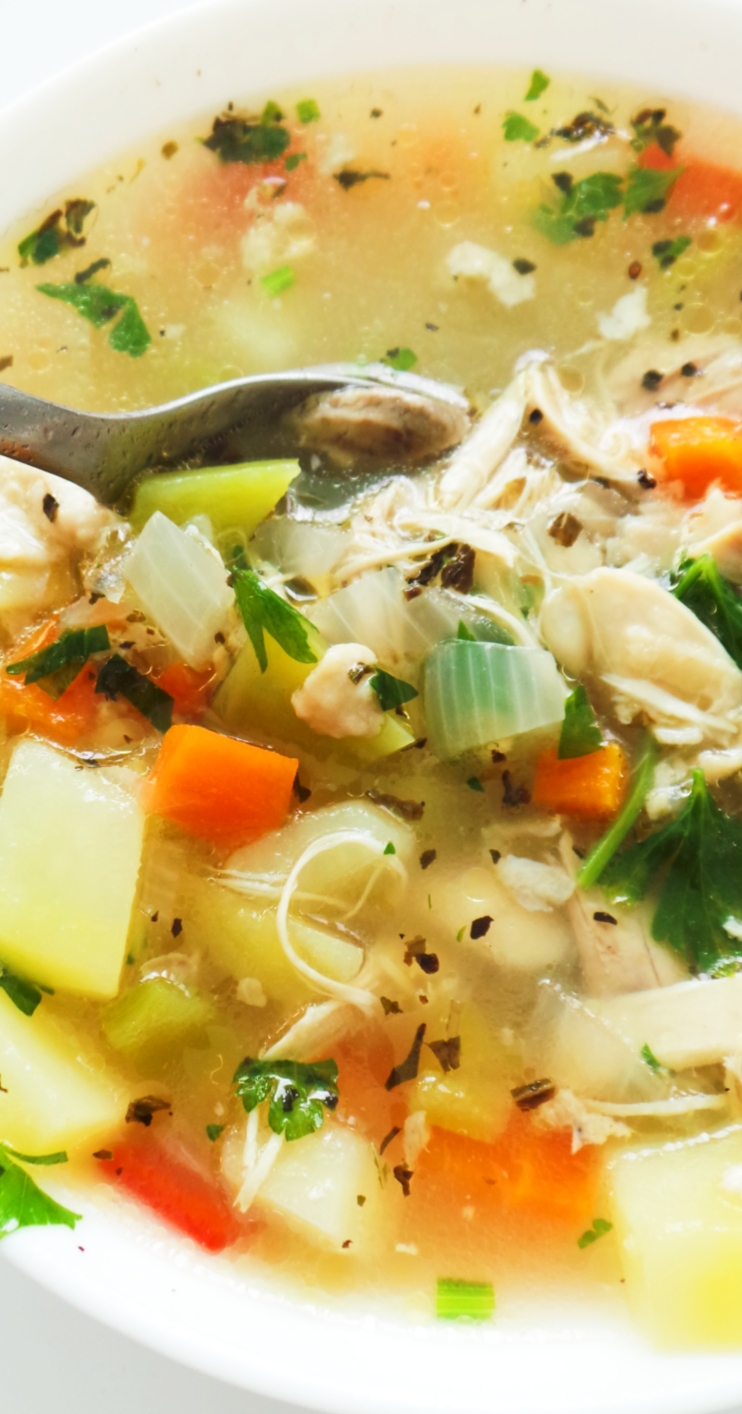 My favorite chicken soup! This is the tastiest, most satisfying homemade chicken soup that you can make from scratch! This soup is easy, healthy and perfect for dinner or lunch.