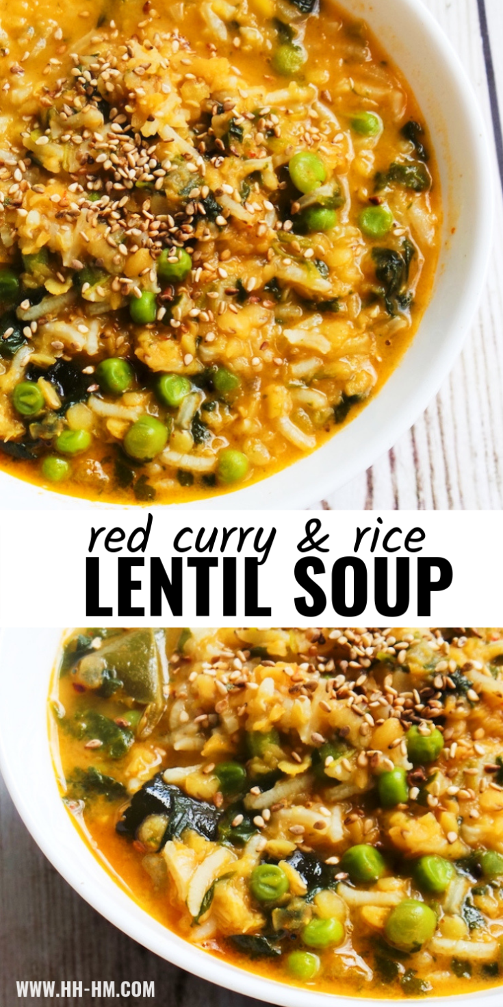 The tastiest healthy lentil curry soup recipe with coconut milk, lime leaves, peas and rice! This vegan lentil recipe is healthy, full of flavor, creamy and simply delicious!