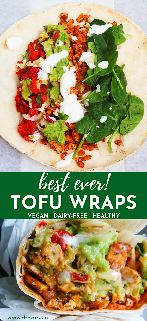 Spicy tofu wraps! If you've never cooked with tofu and don't know what to do with it - make these delicious vegan wraps! They're healthy, super flavorful, don't take too long and are an easy vegan dinner option! | easy vegan recipes