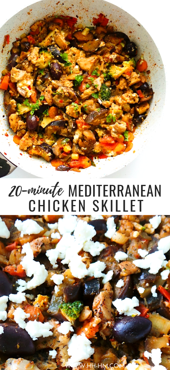Make this Mediterranean chicken for dinner in around 20 minutes with ingredients you probably already have at home! You can use a chicken breast or boneless skinless chicken thighs. This easy chicken recipe is perfect for anyone who loves the Mediterranean diet and food. You can serve this healthy chicken dinner as is, with bread and salad or if you want to keep things low carb, gluten-free or paleo, check out the options in the post.