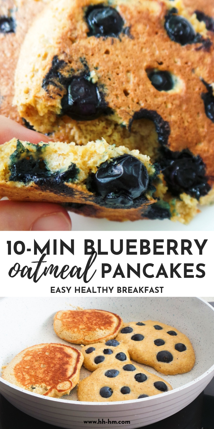Healthy blueberry pancakes - quick and easy breakfast that is healthy and you can eat on the go! These easy blueberry oatmeal pancakes are fluffy and tasty, but also flourless, refined sugar-free and very nourishing. You need just a few ingredients and 10-15 minutes to make them.