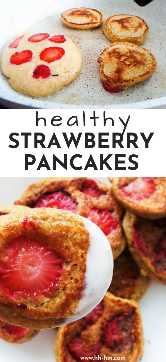 These healthy strawberry pancakes take 10 minutes to make and are the perfect healthy breakfast, even on the go! These healthy pancakes are easy, tasty, fluffy and quick to make!
