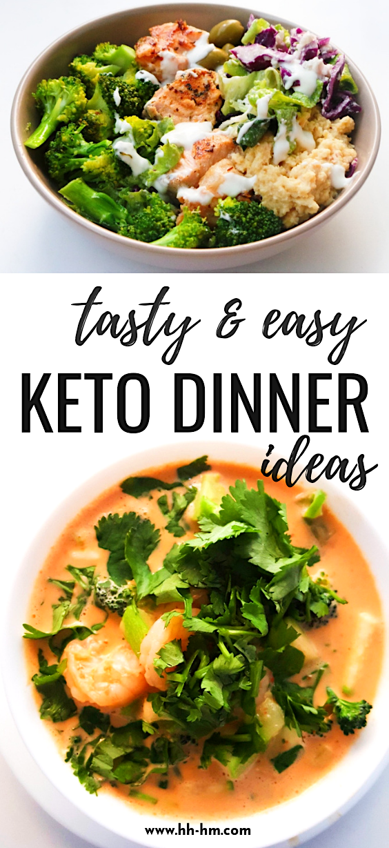 10 easy keto dinner ideas ready in 30 minutes or less! These healthy low-carb recipes include a keto chicken recipes, keto shrimp recipes, low-carb salmon recipes and a tasty keto beef recipe. These keto diet recipes are great for beginners, who want to lose weight and feel great! | clean eating recipes