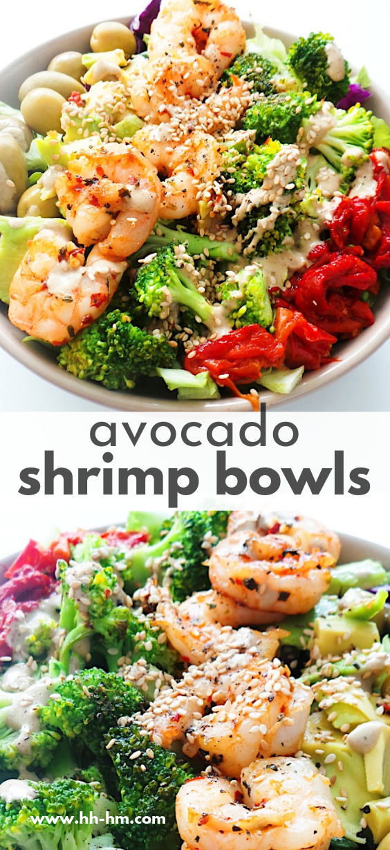 Avocado shrimp bowl recipe that is perfect for lunch or dinner! This healthy salad is low carb, keto, gluten-free and easy to meal prep for the week.