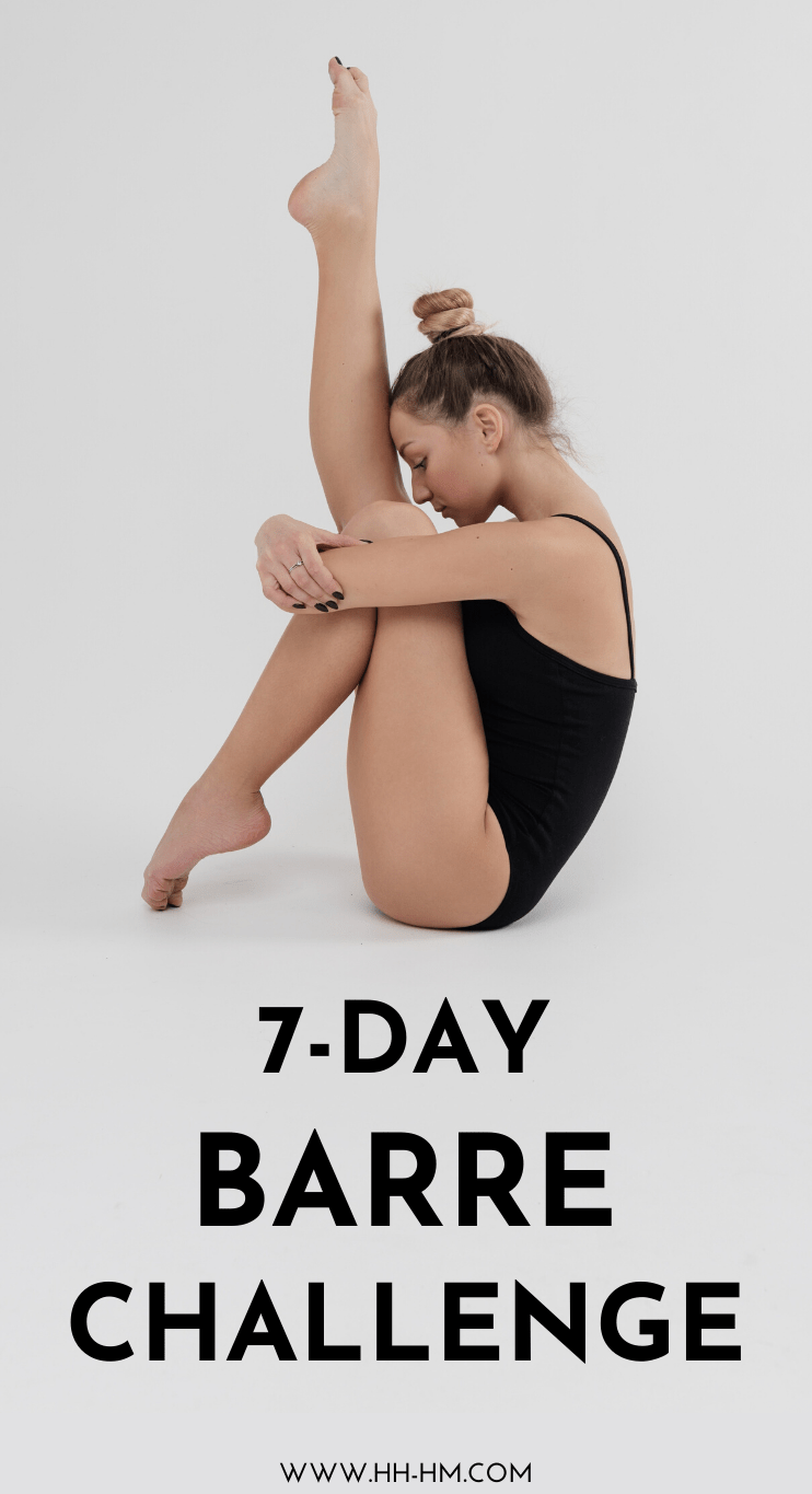 7-Day At Home Barre Workout Plan And Challenge! Start this challenge and get stronger and leaner by doing a barre workout every day for a week - it will improve your posture, your strength, flexibility and mood! Much like Pilates, barre exercises are for the most part low-impact, so if you're a beginner it's worth a try!