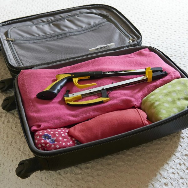 Classic Pro folding grabber reacher pick up stick. Foldable and lightweight to fit in a suitcase. Maintain independence when away from home on holiday