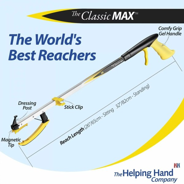 Features of a ADL Essentials Classic MAX Reacher. Long or short reach pick up stick. Ideal for someone who is recovering from a stroke or who has Parkinson's disease