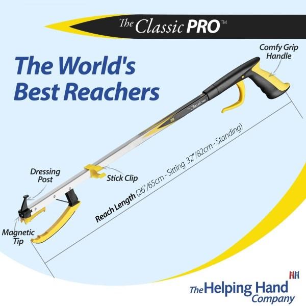 Features of a ADL Essentials Classic Pro Reacher. Long or short reach pick up stick