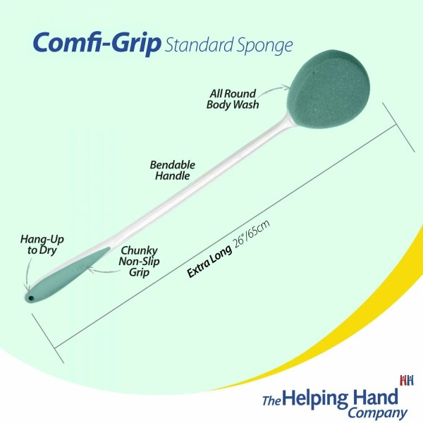 """The Helping Hand Comfi-Grip sponge features. Ideal for washing in the bath/shower or applying lotion/cream to dry skin. 26""""/65cm long. Useful hanging hole to hook up in the shower when not in use"""
