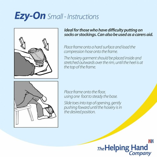 Helping Hand Ezy-On Small Compression frame. Apply tight compression stockings with this robust wire frame. Wide opening so you can easily slip your foot in.