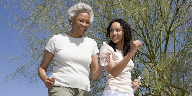 Two African American women exercise. Read a blog post about a new study that looks at the correlation between exercise and high blood pressure in African Americans.