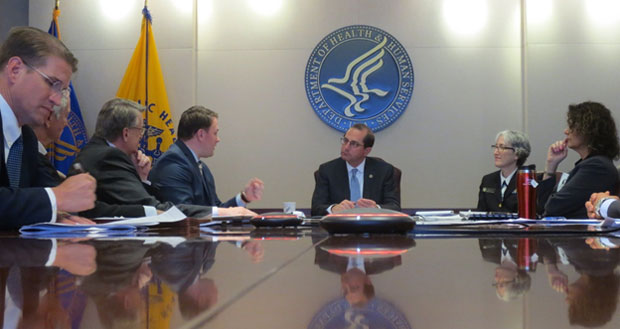 Secretary Alex Azar holding a listening session with state officials who work on prescription drug monitoring programs (PDMPs) in the District of Columbia, Kentucky, Maryland, Virginia, and West Virginia