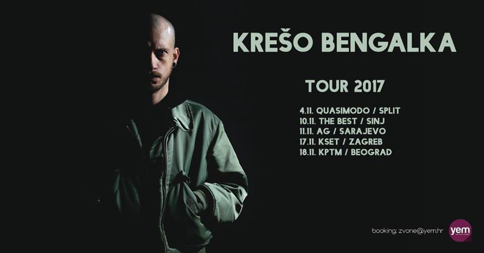 Krešo Bengalka @ Quasimodo (ST), 4.11. // The Best (SINJ), 10.11. // KSET (ZG), 17.11.
