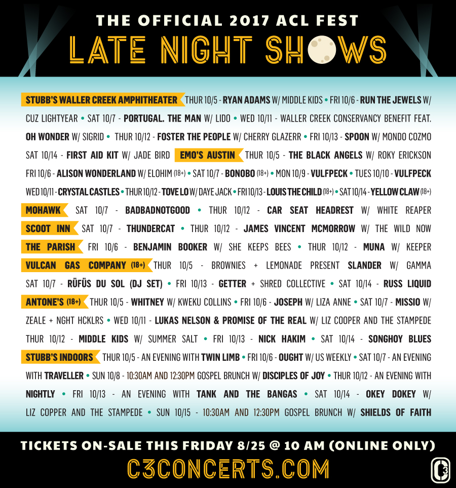 ACL Night Lineup 2017