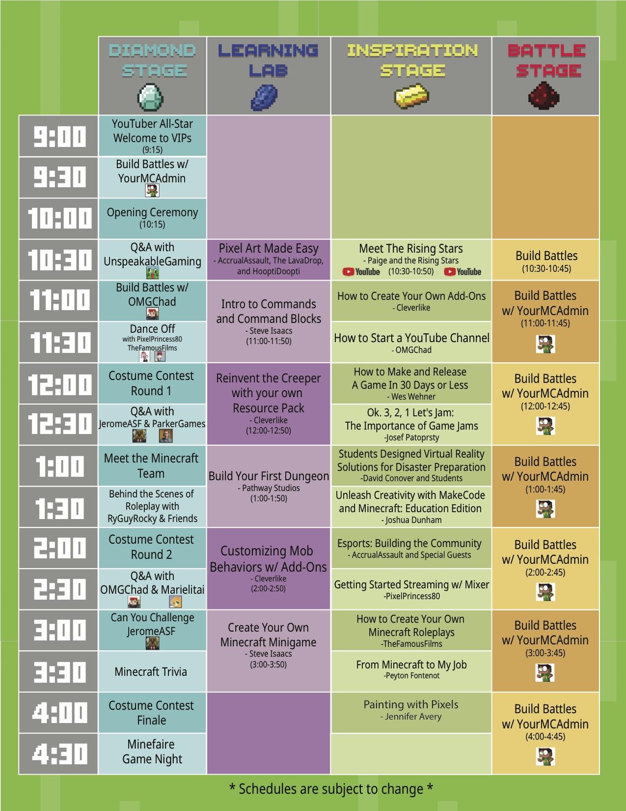 Minefare Schedule 2018