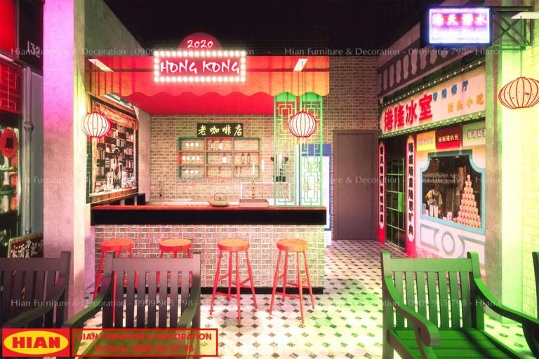 Thiết kế quán cafe phong cách HongKong