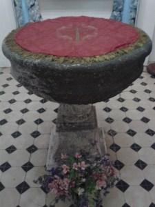 Pila bautismal de la Parroquia de San Blas. Villa de Mazo, Isla de La Palma, septiembre de 2013.