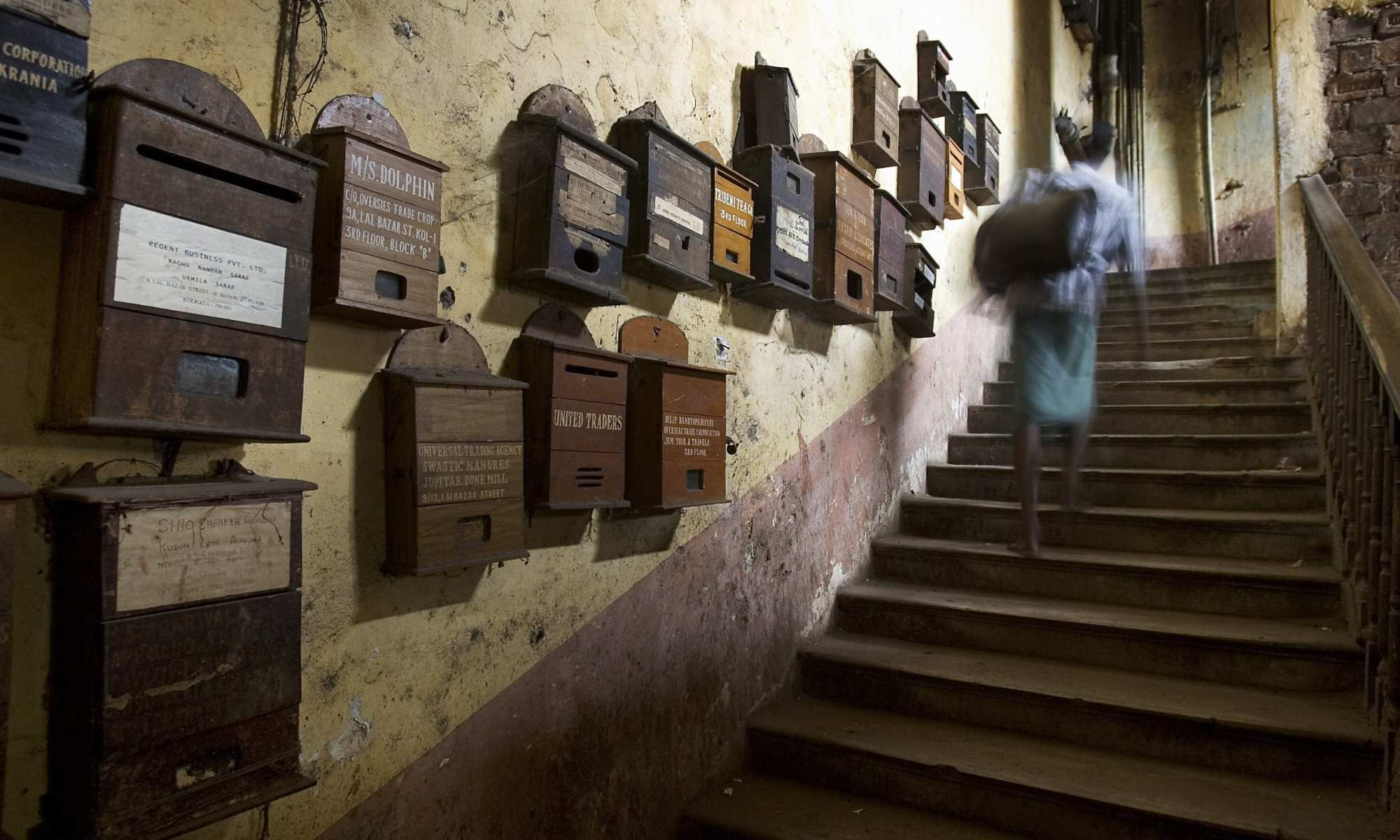 Mailboxes in stairs, Calcutta Kolkata India