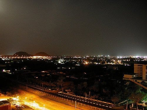 Abuja ( city) in Nigeria night shot with lights
