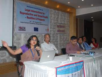 a panel consisting of women and men on a consultation on sexual and reproductive health