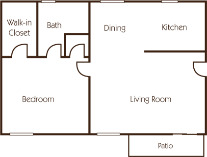 1 Bed / 1 Bath / 820 sq ft / Deposit: $400 / Rent: $1,105