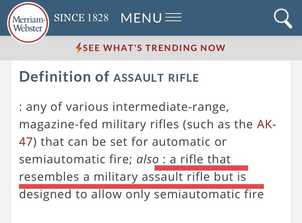 Merriam Webster Changes Definition Of Assault Rifle
