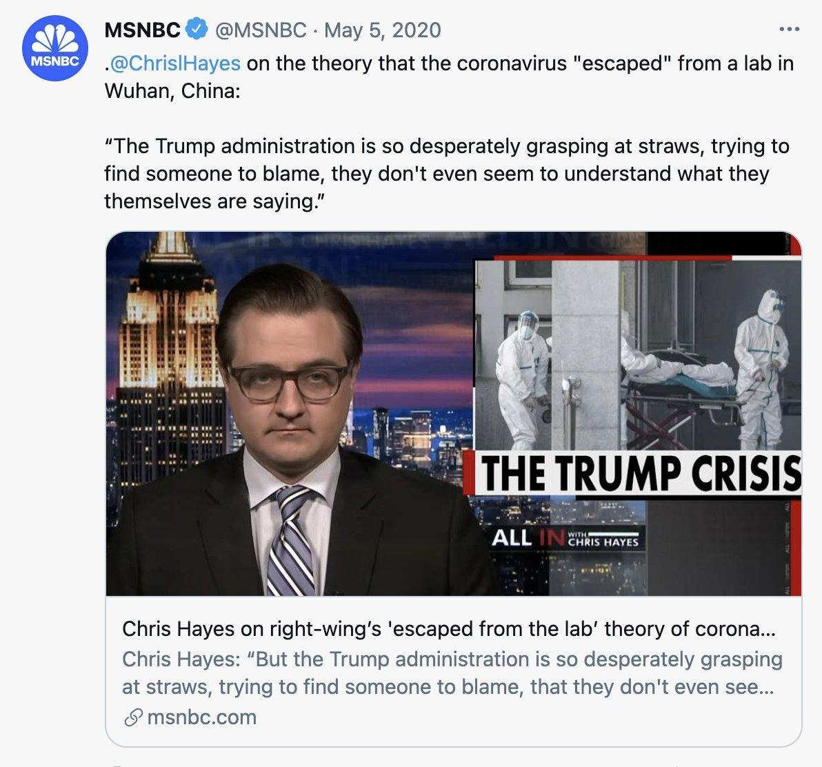 media calls covid lab theory a right wing conspiracy