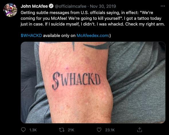 John McAfee didn't kill himself tattoo proof