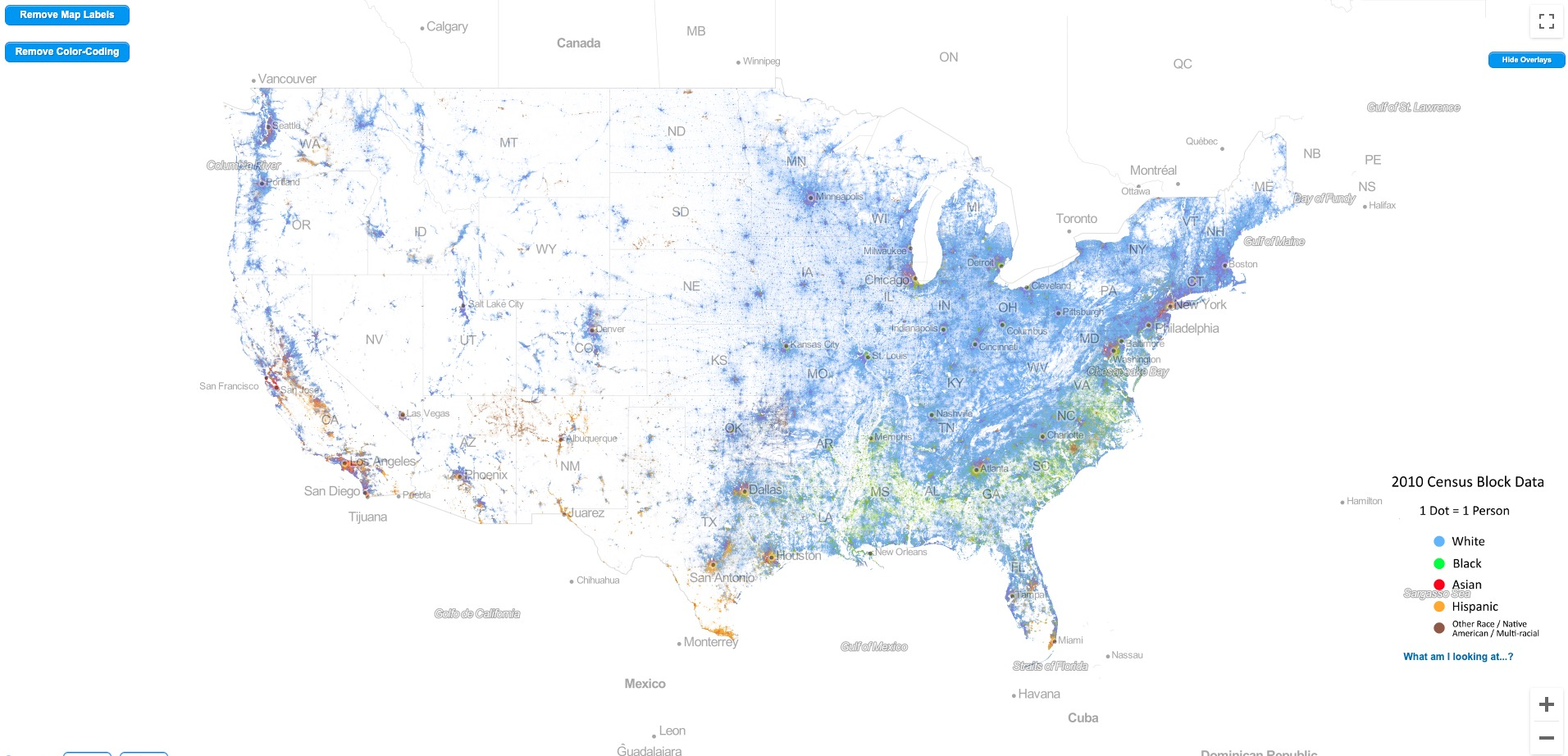 racial dot map with state added in
