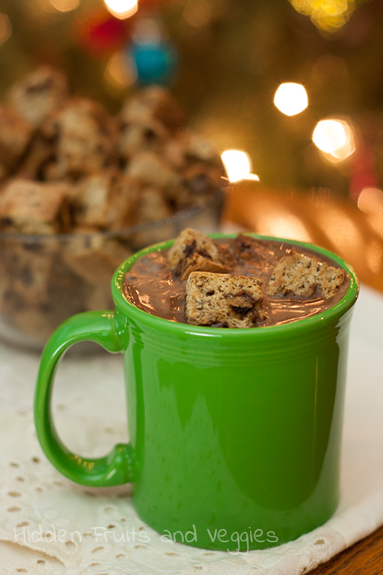 Chocolate Chip Cookie Croutons floated in Hot Chocolate
