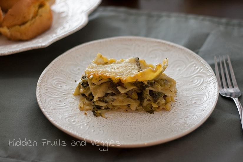 Broccoli and Spinach White Lasagna