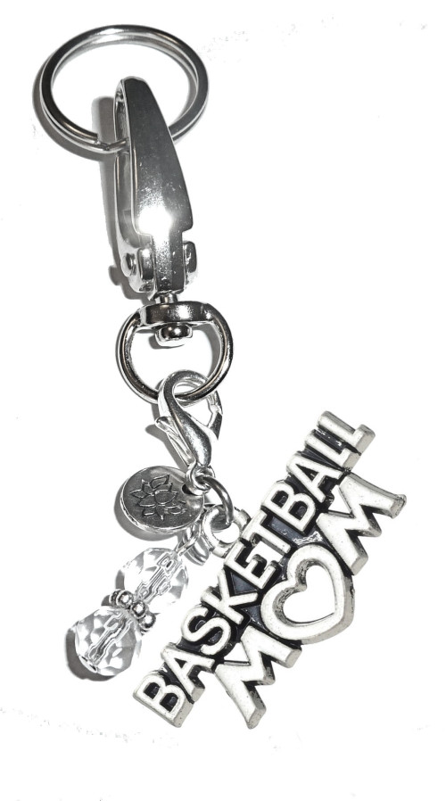 (Basketball Mom) Charm Key Chain Ring, Women's Purse or