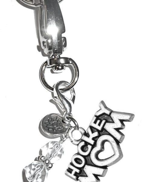 (Hockey Mom) Charm Key Chain Ring, Women's Purse or