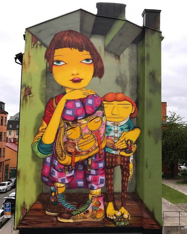 New wall from Os Gemeos in Stockholm, Sweden