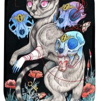 """Ghost Cat"" print by Caitlin Hackett"