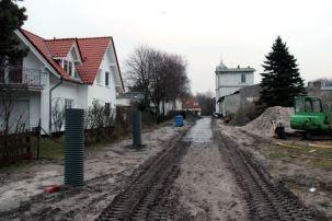 Bauarbeiten am Strandaufgang 'Zur Ostsee' am 11.02.2014.