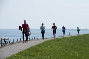 Läufer auf dem Boddendeich beim 22. Hiddenseelauf 2018.