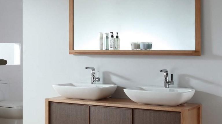 vanity mirror tv contemporary bathroom