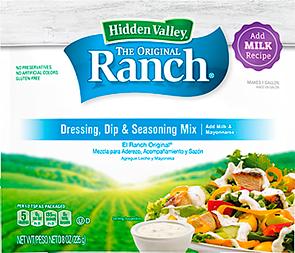 Hidden Valley Original Ranch Add Milk Mix  Hidden