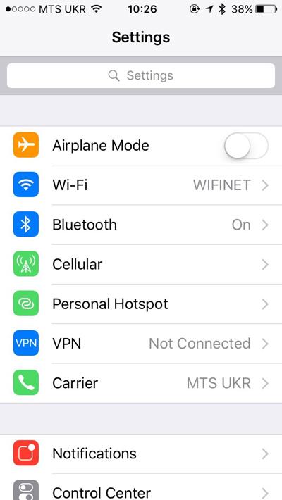 Settings, WiFi