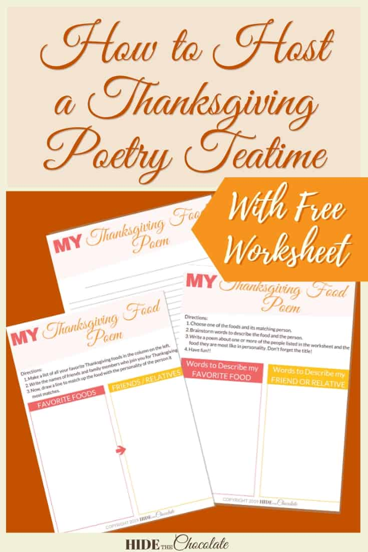 How to Host a Thanksgiving Poetry Teatime ~ Free Printable Worksheet